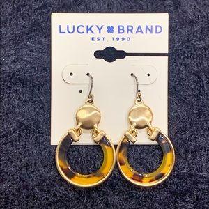 Lucky Brand Gold Tone Tortoise Drop Earrings